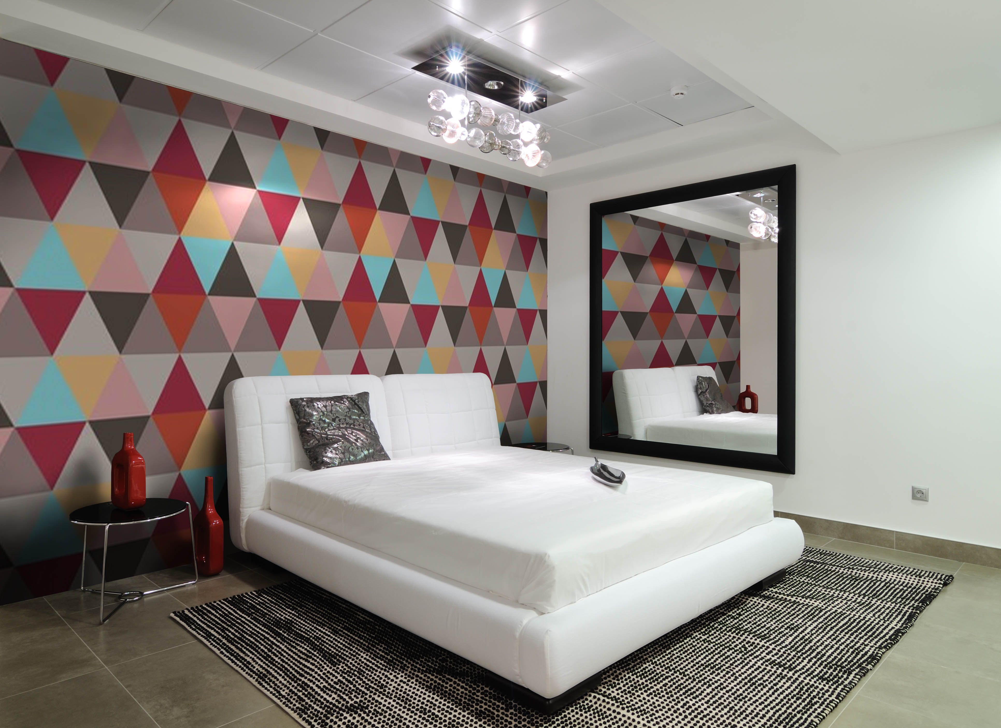 Contemporary Bedroom With Geomteric Wallpaper