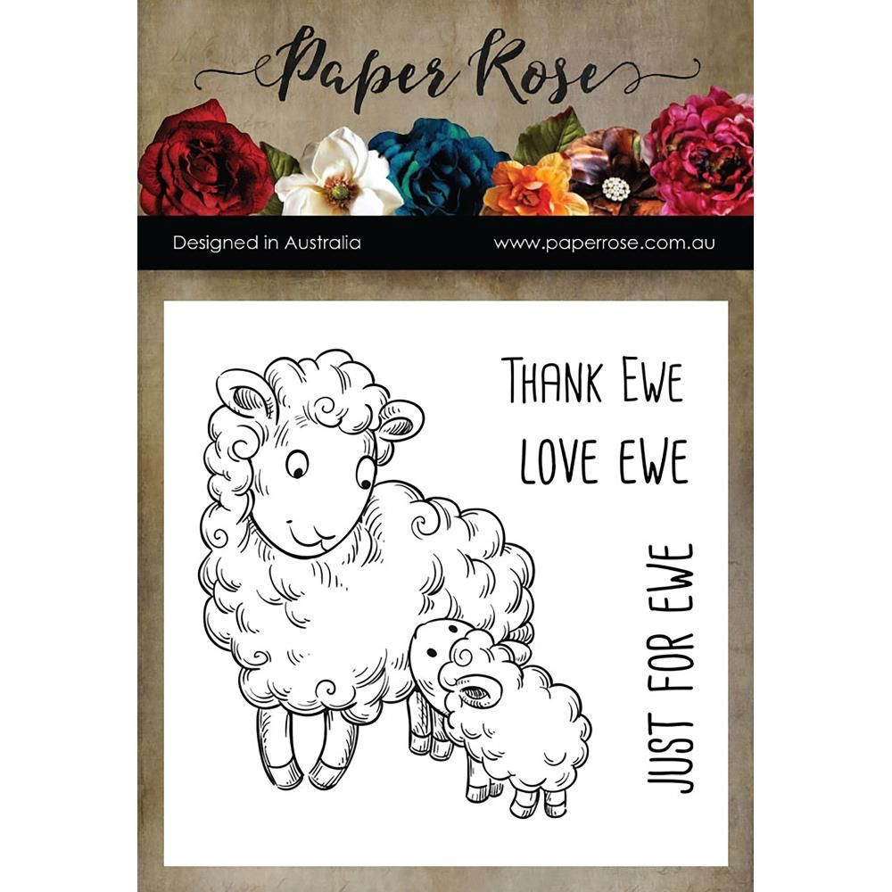 Paper rose thank ewe rubber cling stamp paper roses