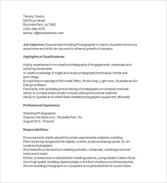 Photographer Resume Template \u2013 17+ Free Samples, Examples, Format