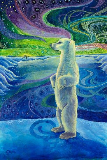 """Daily Painters Of Colorado: Native American Art,Wildlife Bear Painting """"THE LEGEND OF AURORA BOREALIS"""", by Nancee Jean Busse, Painter of the American West"""