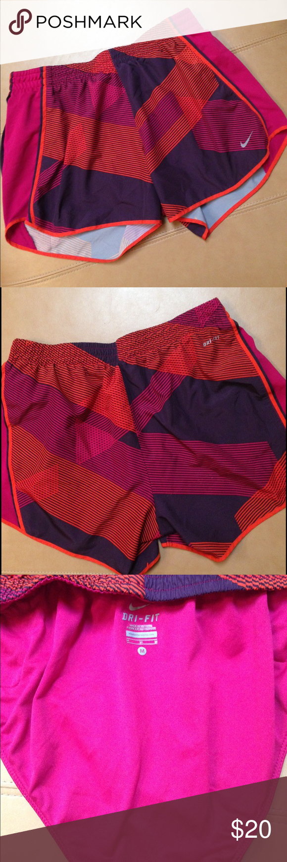 Nike Dri-Fit pink/purple print athletic shorts Excellent shape. No flaws. Worn once. Attached underpants. Size Medium. Nike Shorts