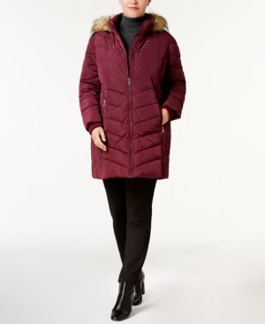 43b5c82f983 TOMMY HILFIGER PLUS SIZE FAUX-FUR-TRIM CHEVRON-QUILTED PUFFER COAT.   tommyhilfiger  cloth