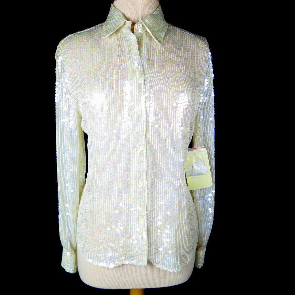 SOLD! Vintage Sequin Silk Blouse Off White Pearlescent Spencer Jeremy Label $28 http://www.rubylane.com/item/885482-SL-109/Vintage-Sequin-Silk-Blouse-White-Pearlescent