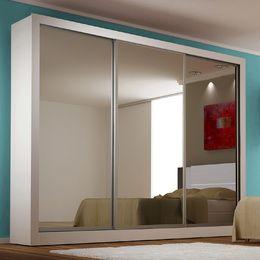 Guarda Roupa 3 Portas De Correr Monet 100 Mdf Com Espelho Branco