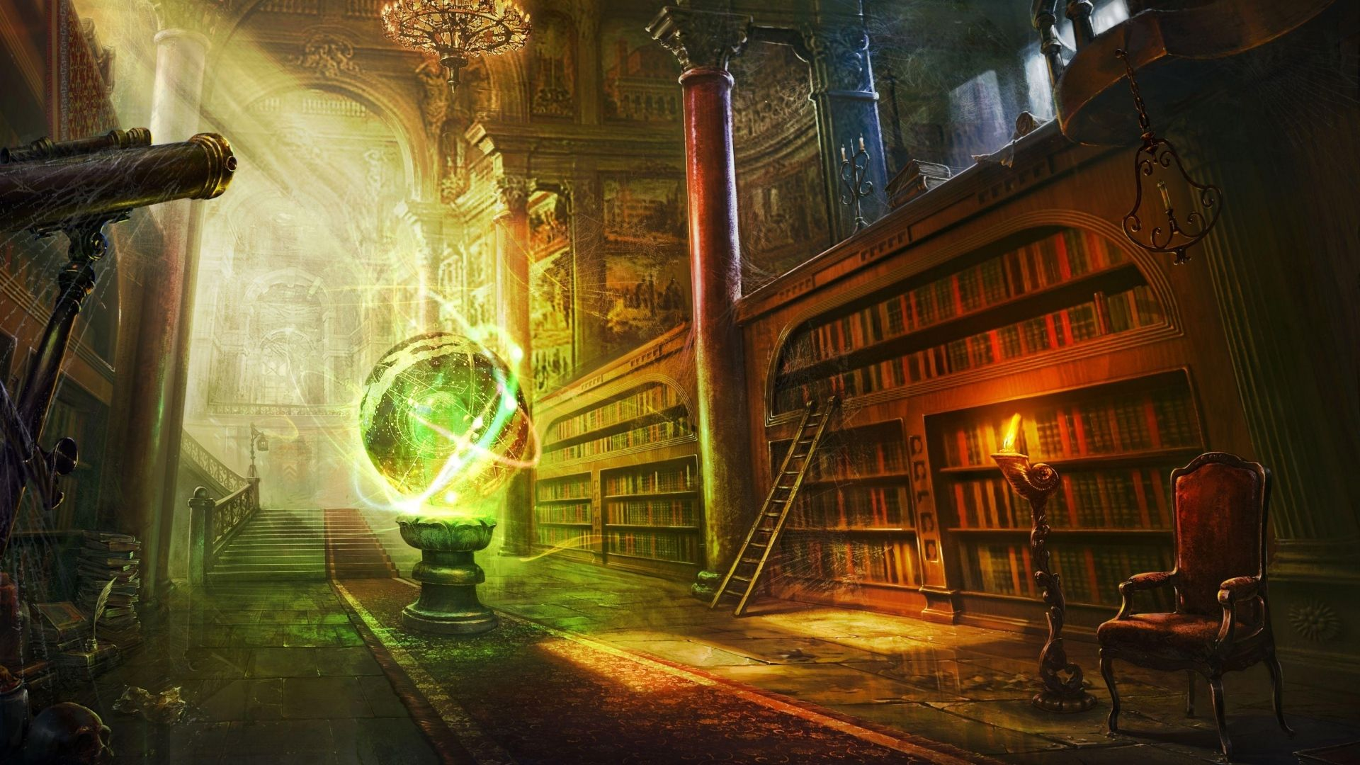 Download Wallpaper 1920x1080 Magic Ball Library Columns Castle Full Hd 1080p Hd Background In 2020 Fantasy Landscape Magical Library Ancient Library