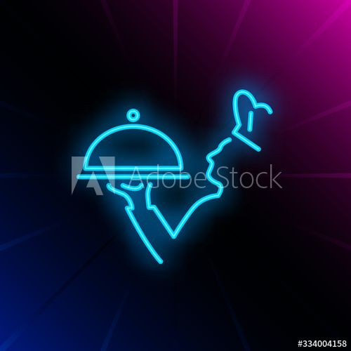 Chief cook holding serving tray neon sign. Cooking, catering service, restaurant advertising design. Night bright neon sign, colorful billboard, light banner. Vector illustration in neon style. - Buy this stock vector and explore similar vectors at Adobe Stock