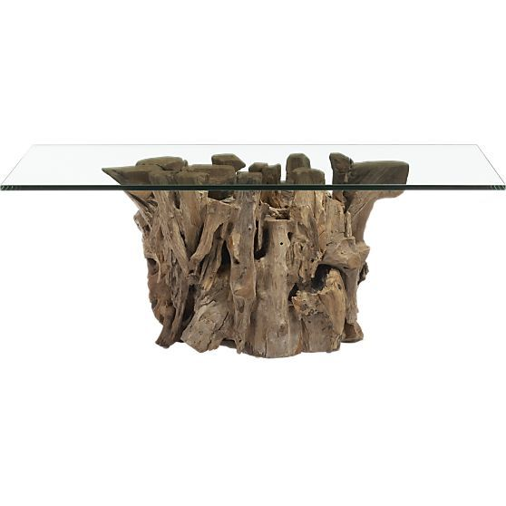 Driftwood Coffee Table With Rectangular Glass Top: Driftwood Coffee Table With Rectangular Glass Top