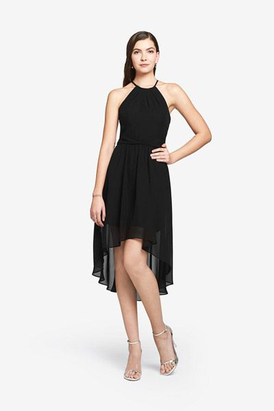Airy chiffon dress featuring a trendy high-low hemline, pleated neck and twisted waist sash.Colors: Black, Coral, Eggplant, Hot Pink, Navy, Orchid, Royal and TulipFabric: Chiffon
