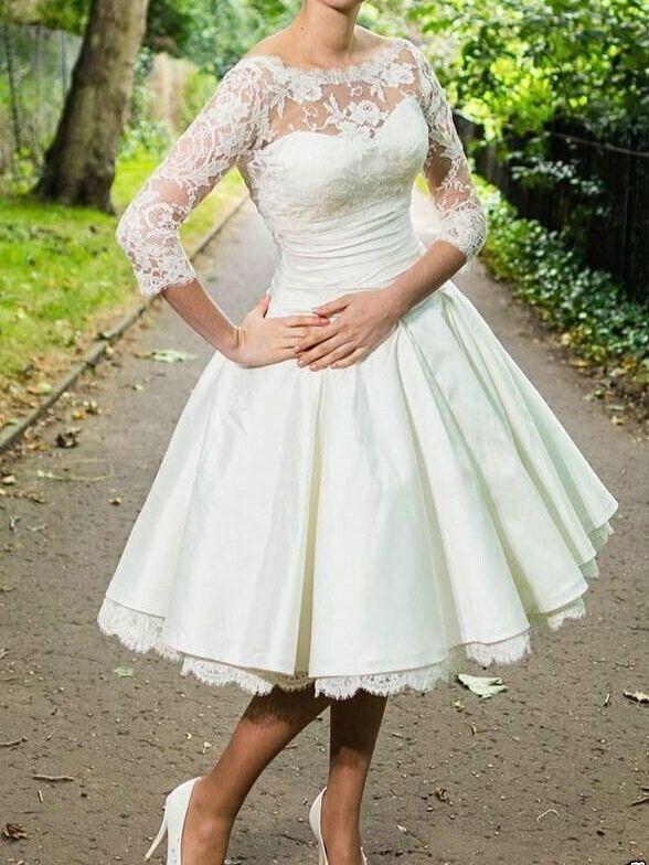 3 X2f 4 Sleeve Vintage Lace Short Tea Length Wedding Dress Bridal