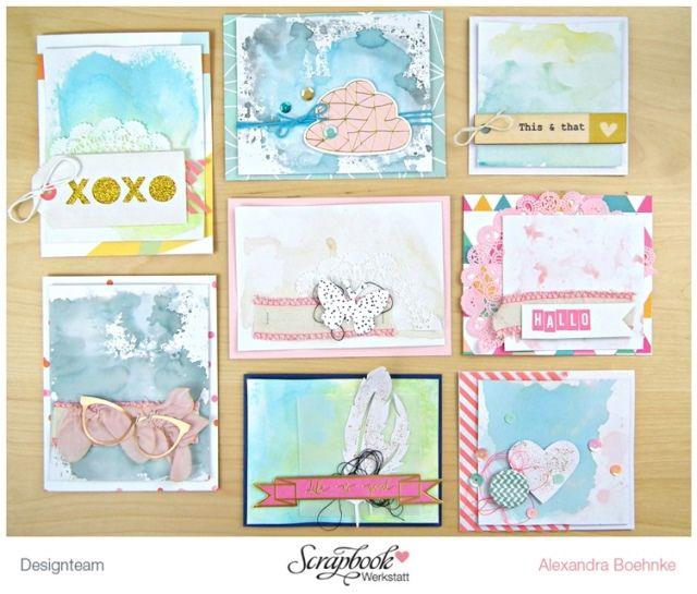 Inspirationsgalerie Karten Werkstatt - Scrapbook Werkstatt - Karten mit verschiedenen Hintergründen mit Acrylblock gestalten von Alex Boehnke