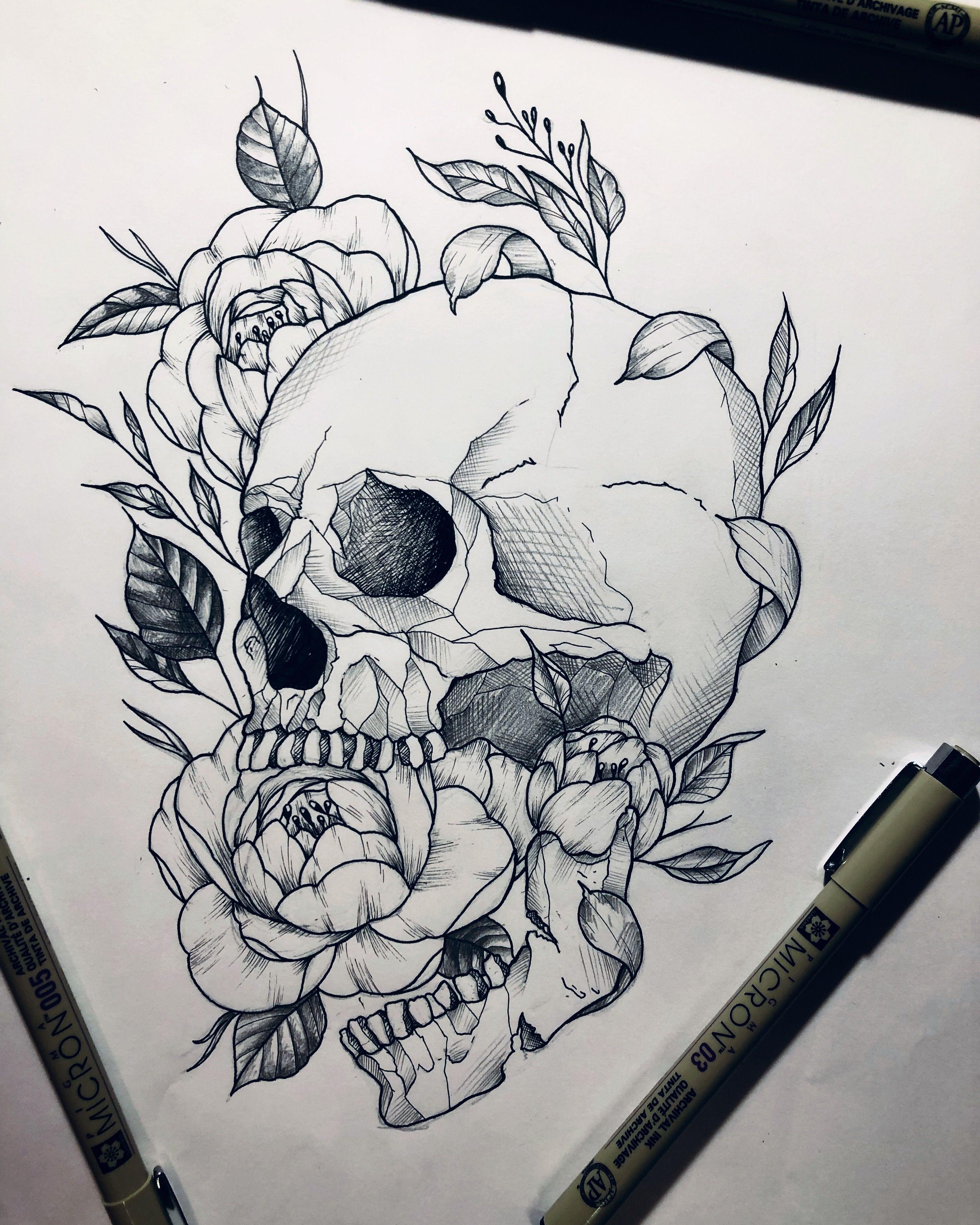 Photo of #skull #skulltattoo #tattoo #tattooed #tattooartist #peony #peonytattoo