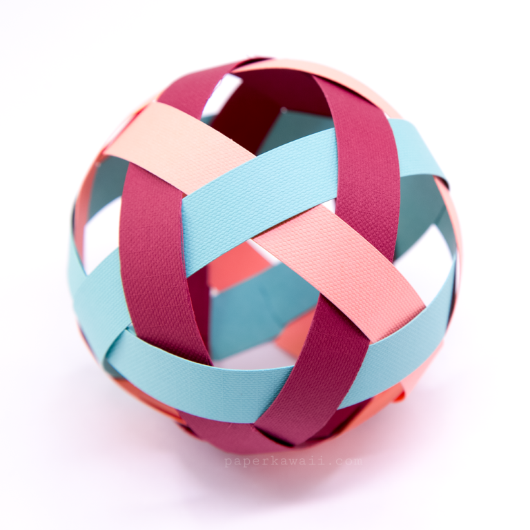 Easy Woven Paper Ball Decoration Tutorial Paper Kawaii Paper Balls Paper Weaving Origami Ball