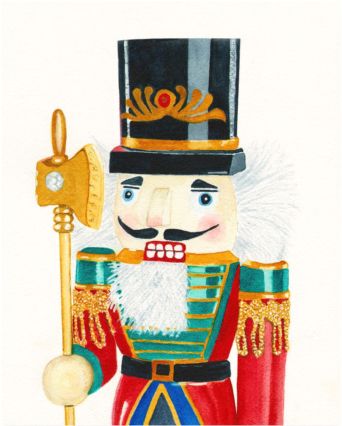 Christmas Cards Colorful Nutcracker Christmas Card Art Watercolor Art Prints Nutcracker Christmas Card