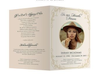 Easy Customizable Funeral Program Card Template. Get Your Copy Now!  #Handmade #PSD  Free Funeral Programs Downloads