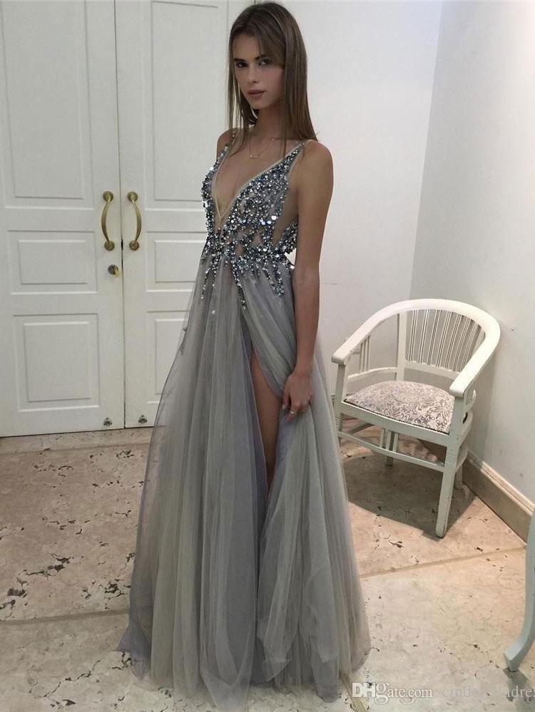 25d28dcc391 Long Backless Grey Sexy Prom Dresses with Slit Rhinestone See Through  Evening Gowns 2018 APD3296