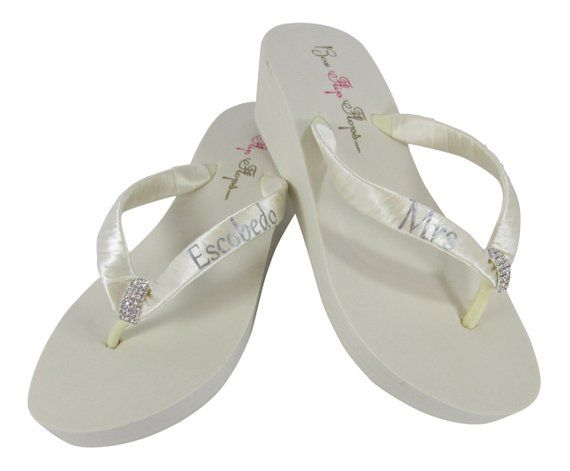 30a984ade435d Square Filigree Mrs Last Name Wedge Flip Flops - Design your Bridal Flip  Flops-personalized Rhinestone- Wedding Sandals Shoes- Ivory Wedge