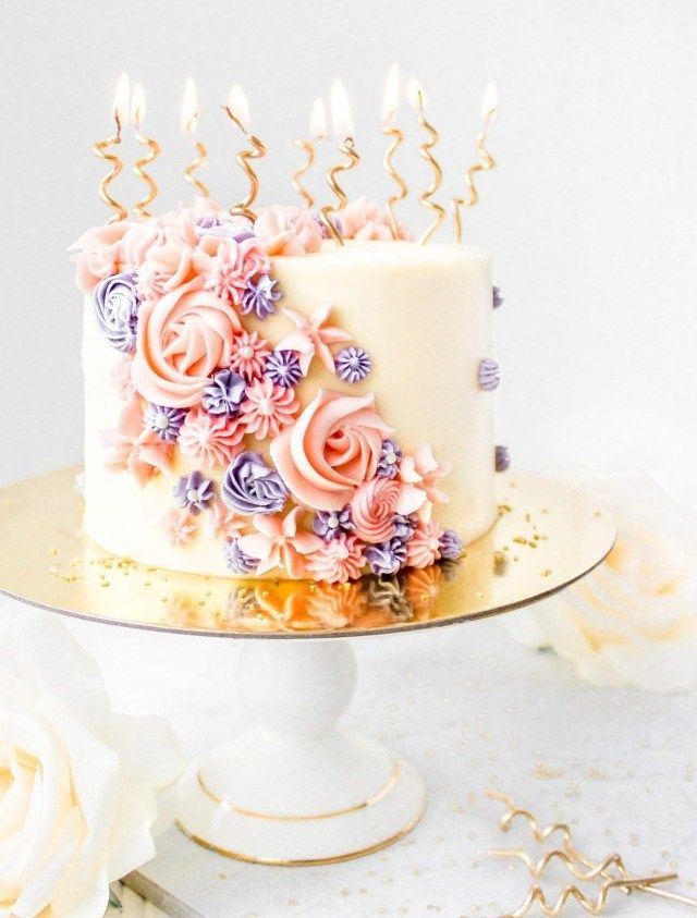 20 Creative Photo Of Pretty Birthday Cakes Vanilla Buttercream Layer Cake Piping Gold