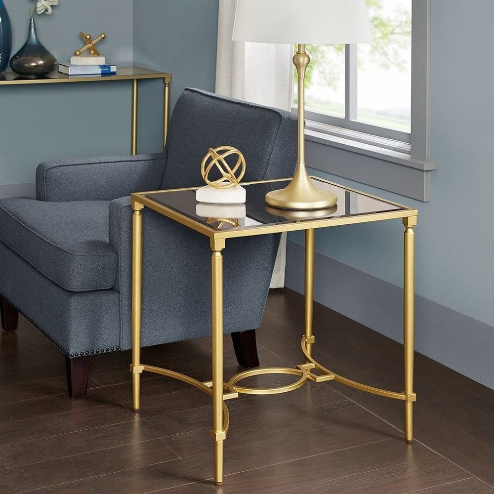 Luxury Turner Antique Gold Mirrored Top End Table With Metal Legs