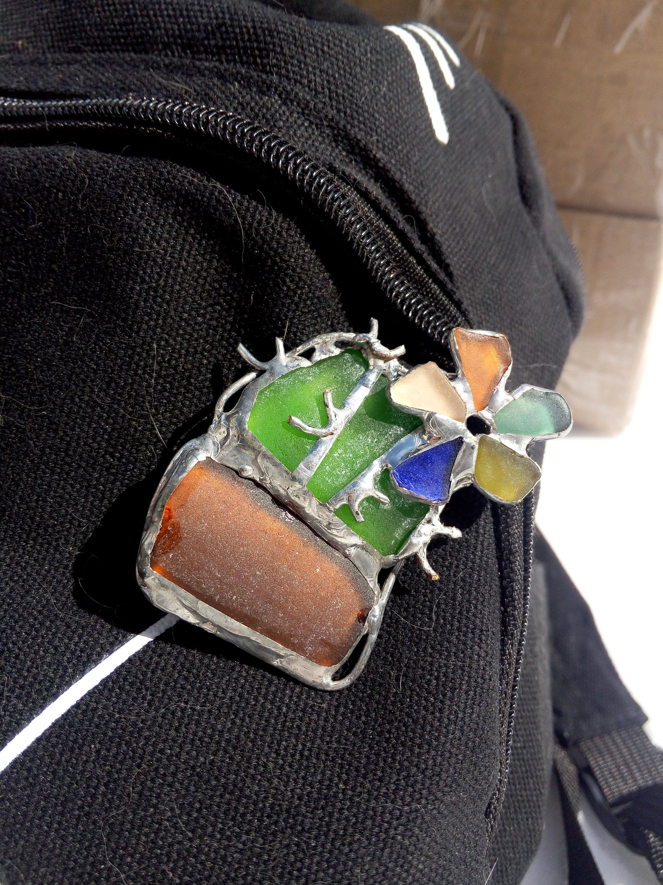 Photo of Cactus big brooch, blooming prickly, sea stained glass, coat bag hat succulent lover beach glass gift