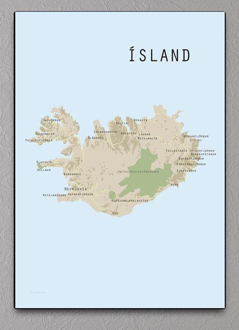 Island Kort Plakat Plakater Kort Og Steder