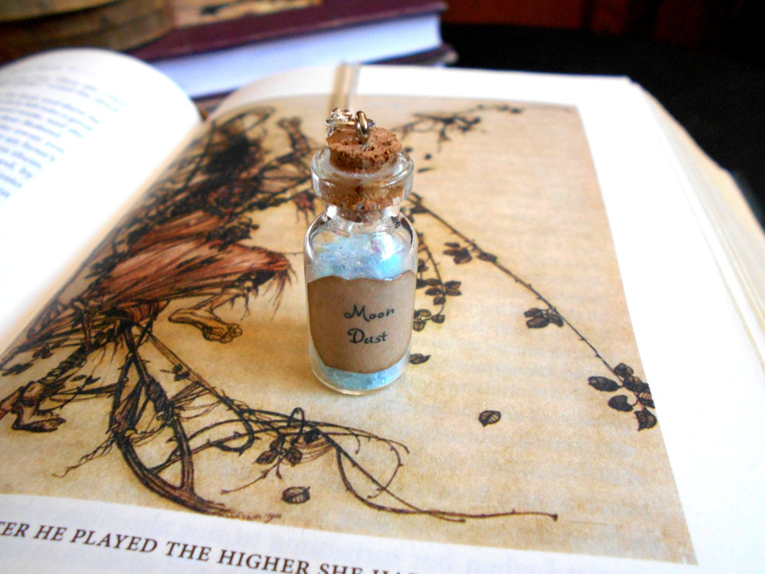 Moon Dust Potion Bottle Necklace - Glass Vial Necklace - Moon Necklace - Fairy Tale Jewelry -  Cosplay Jewelry - Magic Spells Charm by TheLovelyParadox on Etsy