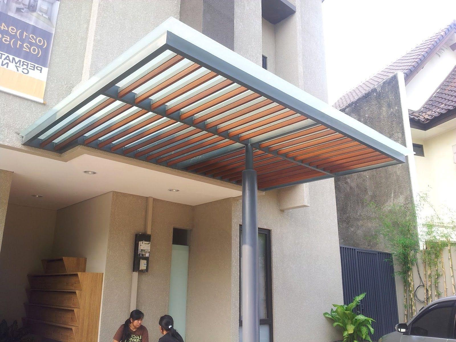 rangka kanopi jendela baja ringan minimalis terbaru teras belakang