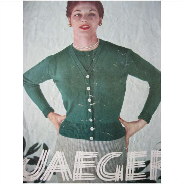 1950s Jaeger Knitting Pattern 3239 Ladies Twin Set Bust 36 Inch On