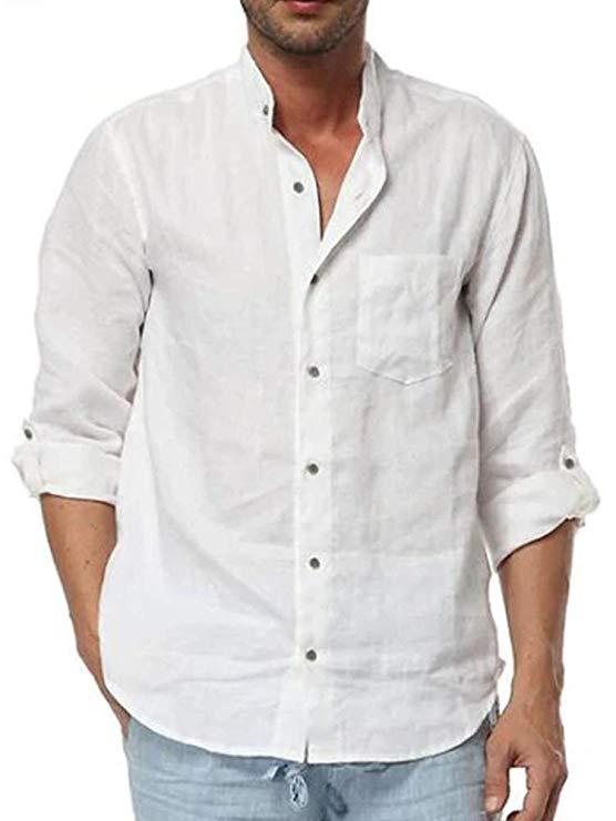 Fashonal Mens Ligntweight Cotton Linen Shirt Long Sleeves V-Neck White Medium
