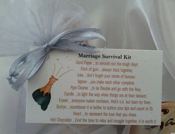 Marriage Survival Kit Bride Groom Engagement Wedding Gift Christmas Stocking Filler Novelty Present