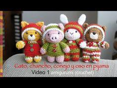 Amigurumi Oso Pijama : Oso gato chancho y conejo bebés en pijamas esperando navidad
