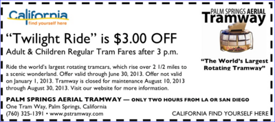 3 Off The Palm Springs Aerial Tramway Aerial Tramway Find Coupons Coupons