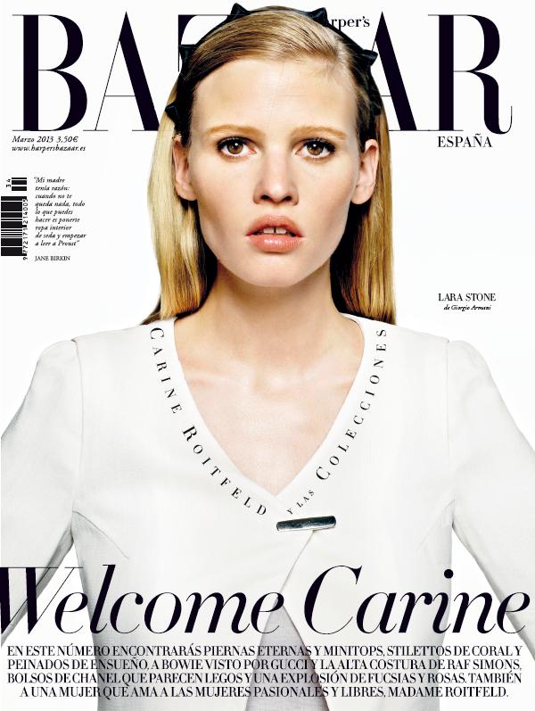 Lara Stone in #GiorgioArmani on the cover of Harper's Bazaar Spain March 2013