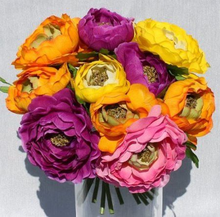 Silk RANUNCULUS Flowers Wedding Bride's BOUQUET Spring Summer Centerpieces