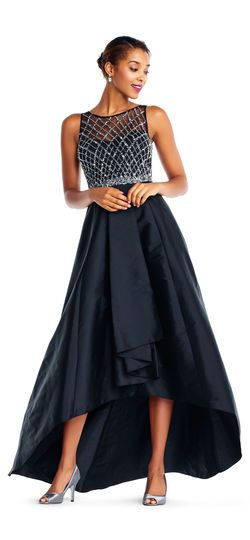 49c322e2fe High Low Taffeta Ball Gown with Beaded Illusion Bodice
