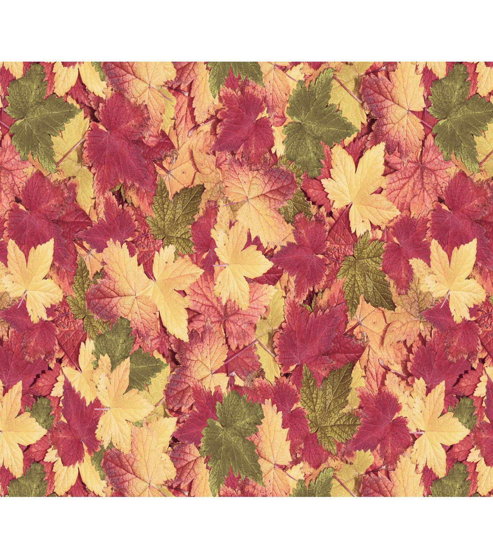 Fabric Acorns /& Autumn Leaves on Beige Cotton 1//4 Yard