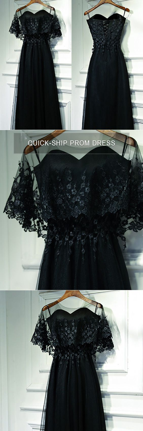 Classy long black lace formal dress with butterfly sleeves myx