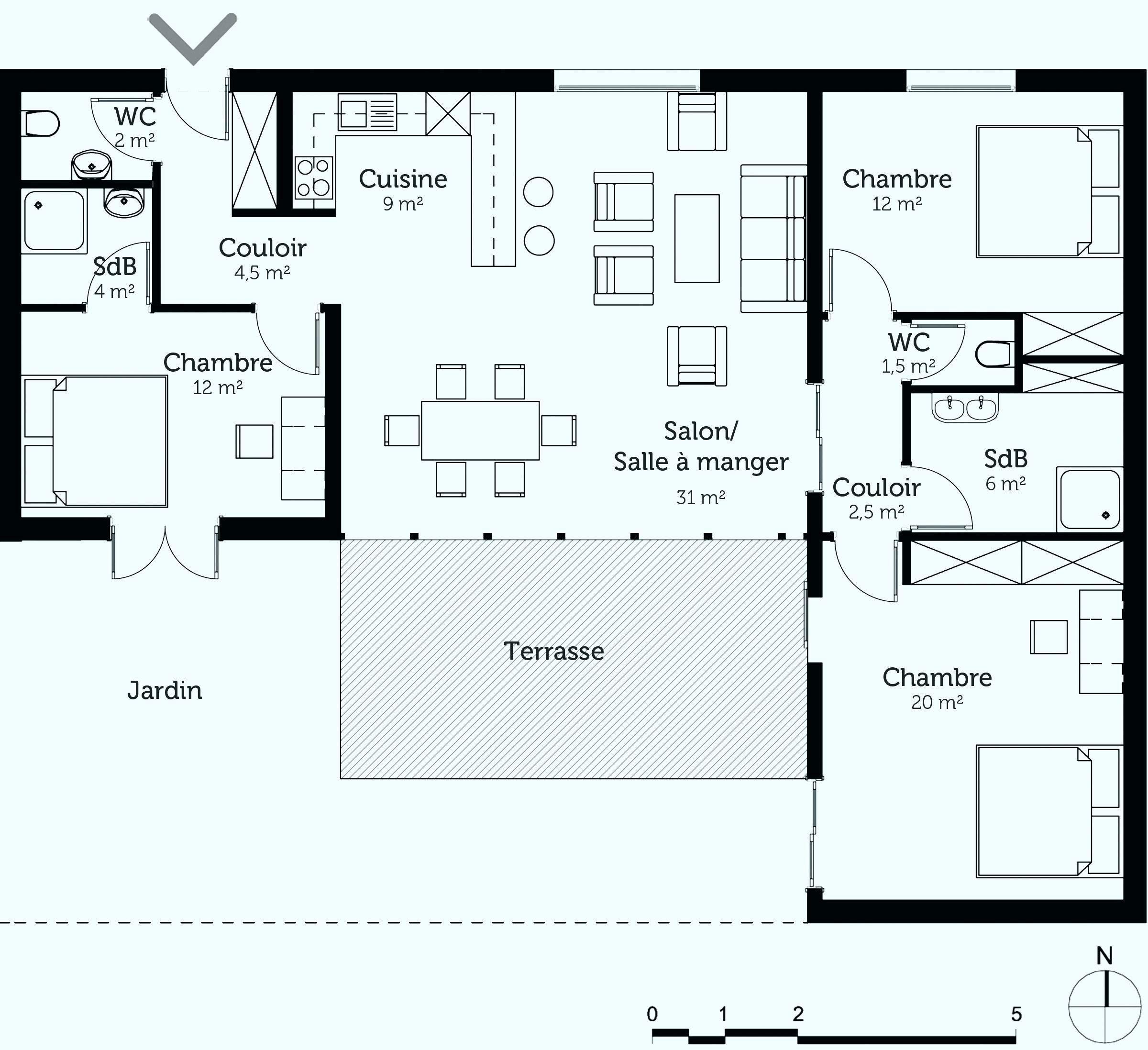 38 Plan Maison Sur Terrain En Longueur In 2020 Single Storey House Plans Building Plans House How To Plan