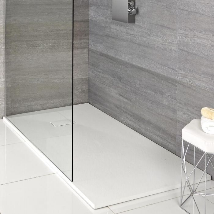 Milano Rasa White Slate Effect Shower Tray Choice Of Size And