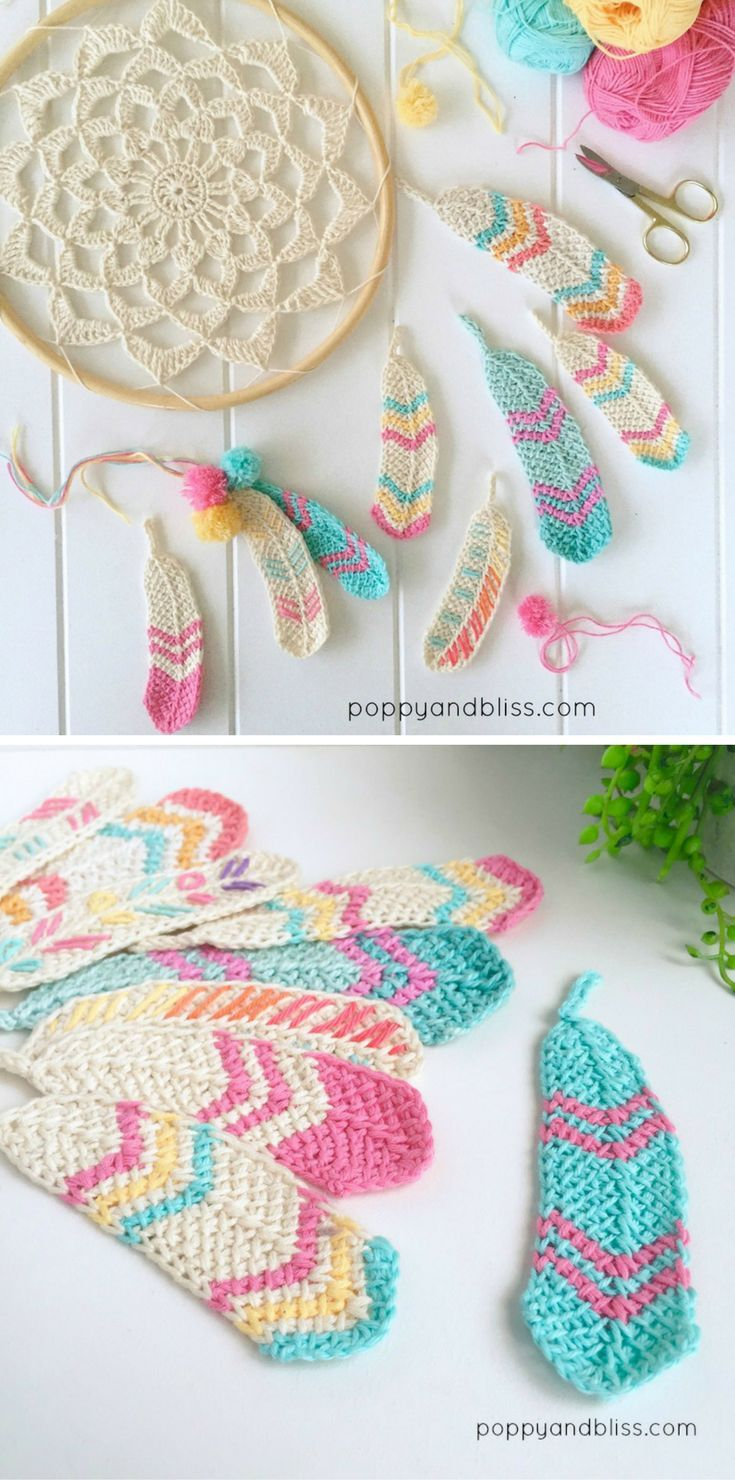 Tunisian Feathers Free Crochet Pattern | minoune tricot | Pinterest ...