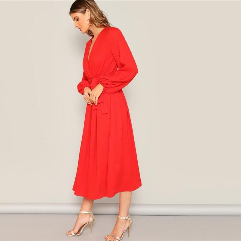 274020bfea Neon Red Lantern Sleeve Surplice Neck Wrap Belted Maxi Dress in 2019 ...