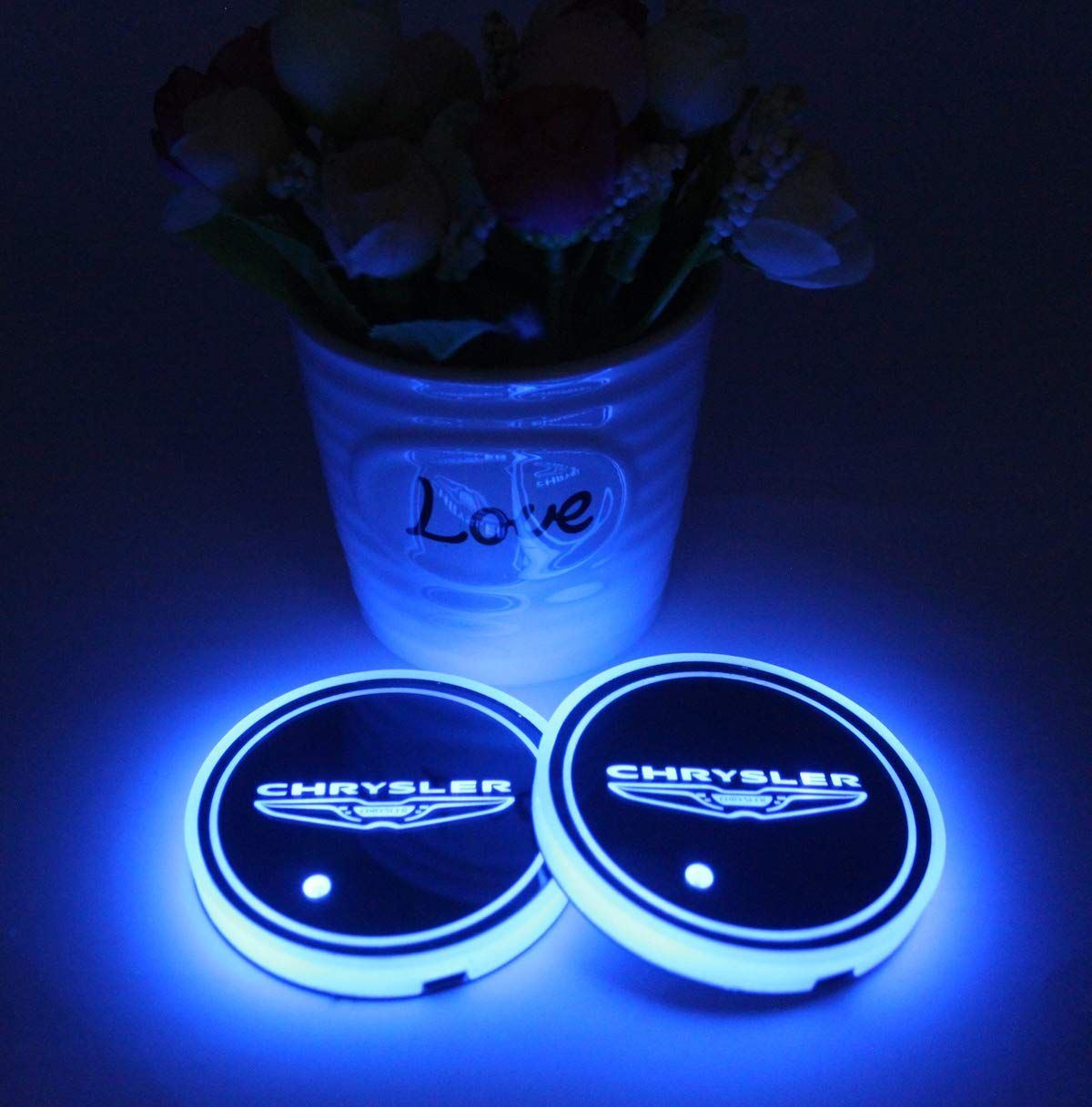 2PCS USB LED Car Cup Holder Pad Mats For Auto Car Automobile Atmosphere Lights