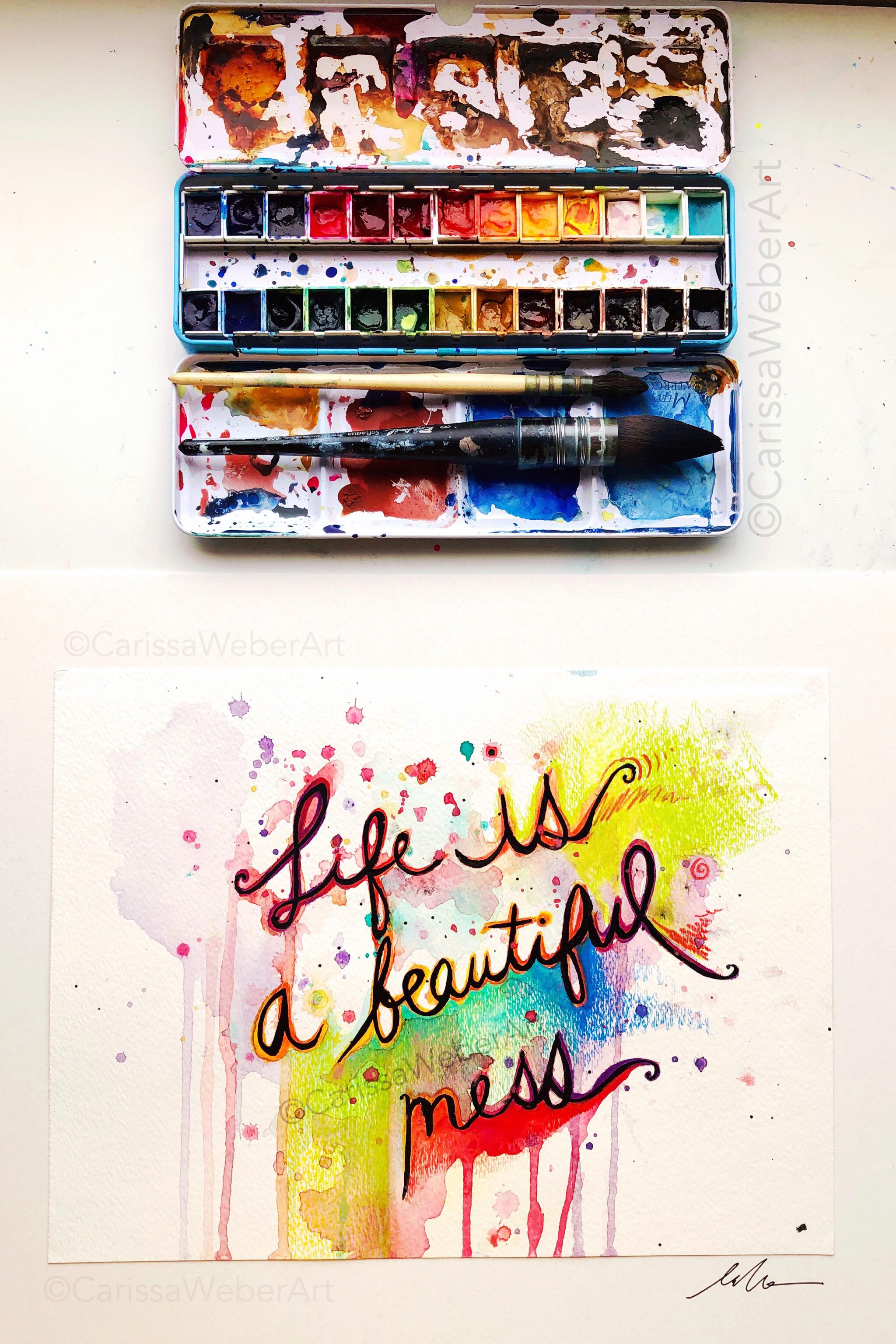 Arti Mess : Beautiful, ❤️, Original, Carissa, Weber, Eclectic, Artwork,, Rainbow, Colorful