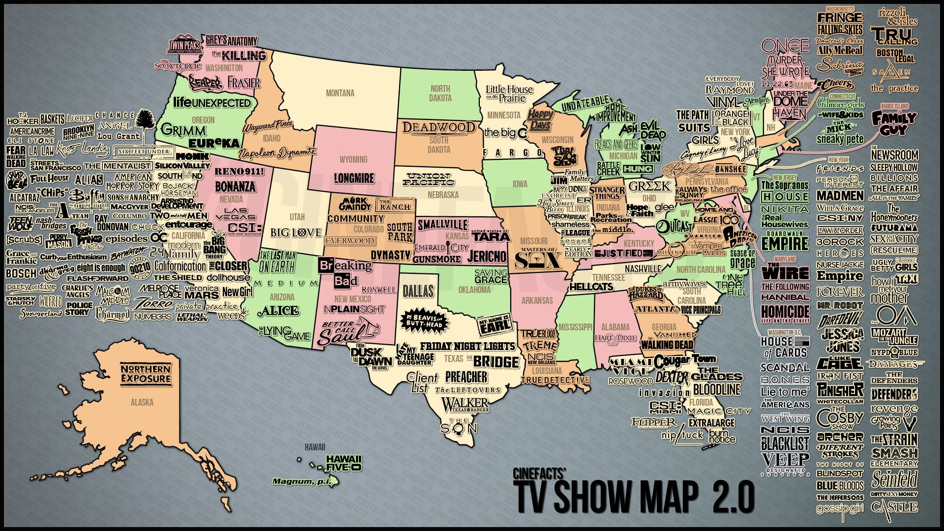 Show Map Of The United States U.S. map of TV shows | Us map, Map, The americans tv show