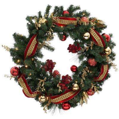 home accents holiday 36 in battery operated plaza artificial wreath with 50 clear led lights at the home depot mobile