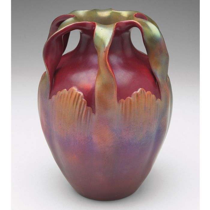 Beautiful Zsolnay vase, large bulbous form with six organic handles, covered in a red and green eosin glaze