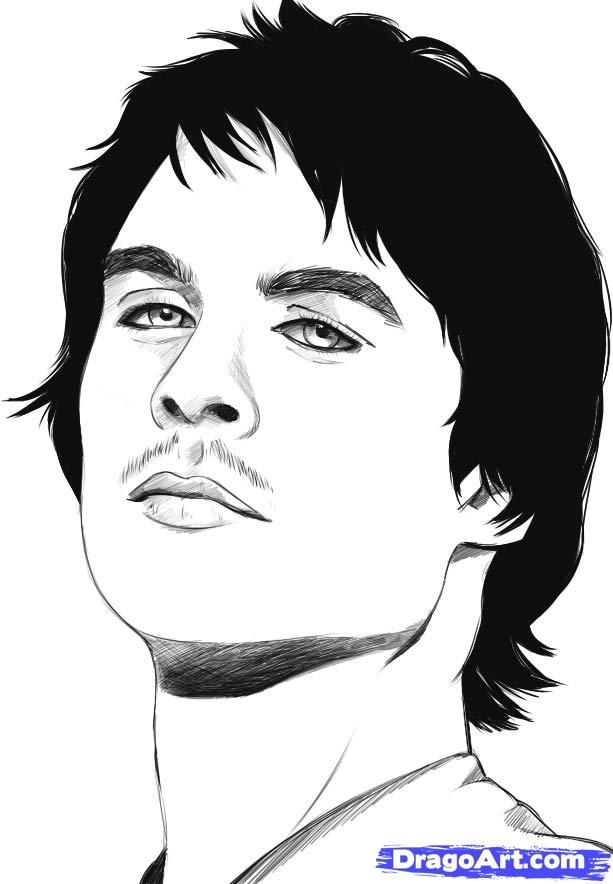 How to draw damon salvatore step 6 artsy fartsy in 2019 - Vampire diaries dessin ...