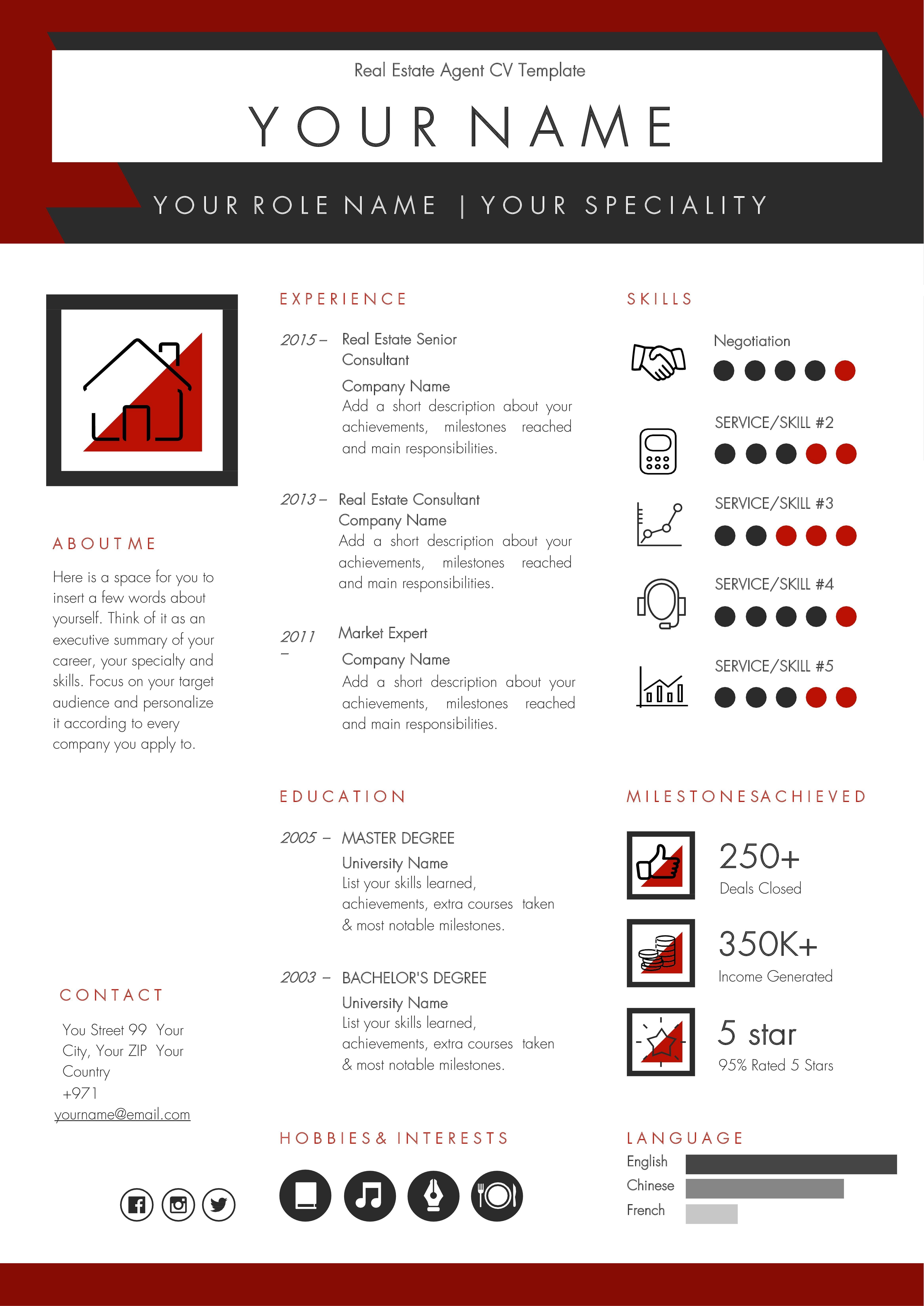 Real estate agent broker cv template in 2020 real