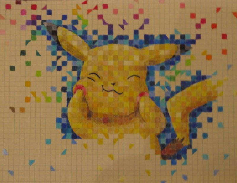 Graph Paper Drawings of Cartoons pikachu graph paper by