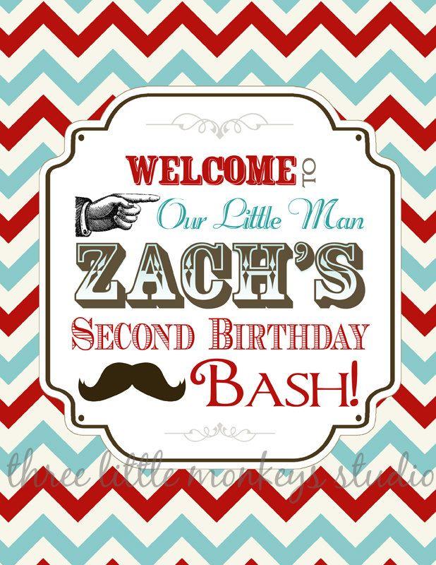 Vintage Little Man Mustache Birthday Party by 3LittleMonkeysStudio ...