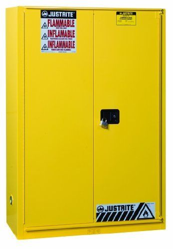 Justrite Sure Grip Ex 894580 Safety Cabinet For Flammable Liquids B Fold Self Close 45 Gallon 44 Height With Images Adjustable Shelving Storage Can Storage